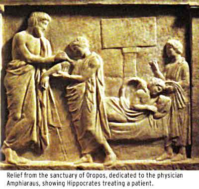 Hippocrates treating a patient.